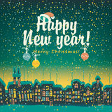 Christmas card with winter old city Stock Images