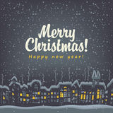 Christmas card with winter old city Royalty Free Stock Photography