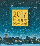 Christmas card with winter old city Royalty Free Stock Photo