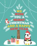 Christmas card with winter scene and holiday penguin. Stock Photo