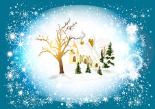 Christmas card with winter scenery Royalty Free Stock Photos