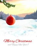 Christmas card. With winter snow landscape nad xmas red shiny ball vector illustration