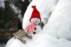 Christmas  card with winter snowman Stock Photos