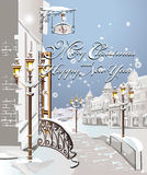Christmas card - Winter on the streets Royalty Free Stock Images