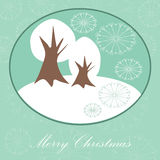 Christmas card with winter trees  background Stock Photography