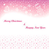 Christmas card with wishes and hand drawn elements Royalty Free Stock Photography