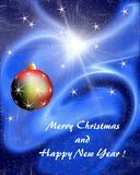 Christmas card with wishes. Shining Christmas globe on a blue background suggesting  the joyful Christmas and New Year`s Eve atmosphere next to written wishes Royalty Free Stock Images