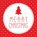 Christmas vector card with wishes, tree and polka dots Royalty Free Stock Image