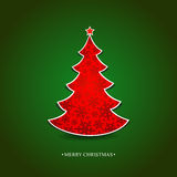 Christmas Card With A Red Tree Royalty Free Stock Photo