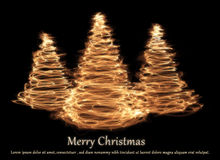 Christmas Card With Abstract Trees Stock Photo