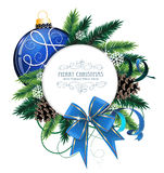 Christmas Card With Blue Bauble Stock Images