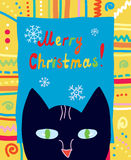 Christmas Card With Cat And Frame Stock Photo