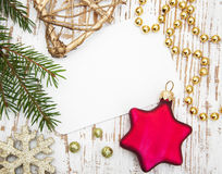 Free Christmas Card With Decorations Royalty Free Stock Images - 44588879