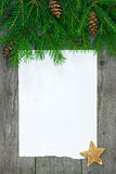 Christmas Card With Fir Branch Stock Photography
