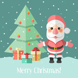 Christmas Card With Fir Tree And Santa Claus And Gifts Stock Photos