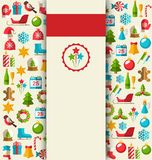 Christmas Card With Flat Icons On Beige Stock Images