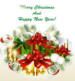 Christmas Card With Gifts, Fur Branches Royalty Free Stock Images