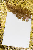 Christmas Card With Golden Feather Royalty Free Stock Image