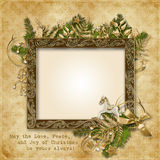 Christmas Card With Golden Garland, Frame And Warm Wishes Royalty Free Stock Image