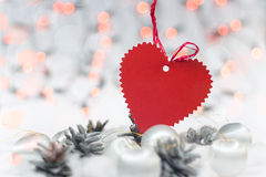 Christmas Card With Heart Royalty Free Stock Photography