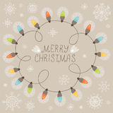 Christmas Card With Lights Stock Photos