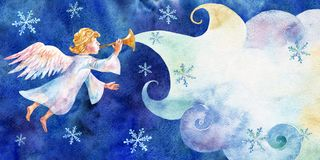 Free Christmas Card With Little Angel. Watercolor On Blue Background. Stock Images - 105042424