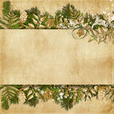 Christmas Card With Miraculous Garland On Vintage Background Royalty Free Stock Photography