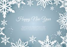 Christmas Card With Paper Snow Flake. Falling Snowflakes On A Dark Blue Winter Background. Stock Photo