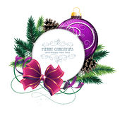 Christmas Card With Purple Bauble Stock Images