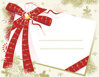 Free Christmas Card With Red Bow Royalty Free Stock Photo - 10801095