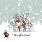 Christmas Card With Santa And Rabbit Family Stock Photos