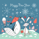 Christmas Card With The Fox And The Hare Royalty Free Stock Image