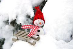 Free Christmas  Card With Winter Snowman Stock Photography - 48228522