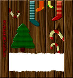 Christmas card on a wooden background Royalty Free Stock Photos