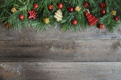 Christmas card on wooden background Royalty Free Stock Photo