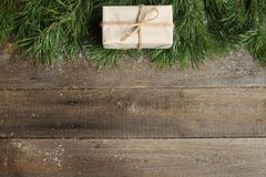Christmas card on wooden background Royalty Free Stock Images