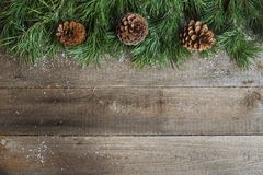 Christmas card on wooden background Stock Images