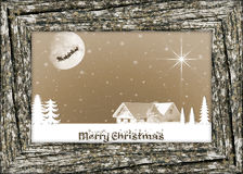 Christmas card with wooden frame Stock Photos