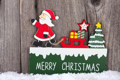 Christmas Card with wooden Sign Royalty Free Stock Images