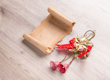 Christmas card on wooden table Stock Photos