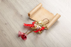 Christmas card on wooden top with christmas ornaments Stock Photography