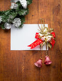 Christmas card on wooden top Royalty Free Stock Photography