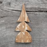 Christmas card: wooden tree on grey aged wooden background Stock Photos