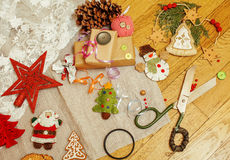 Christmas card wooden vintage with handmade gifts Royalty Free Stock Images
