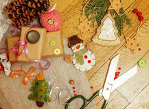 Christmas card wooden vintage with handmade gifts Royalty Free Stock Photos
