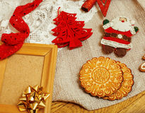 Christmas card wooden vintage with handmade gifts Royalty Free Stock Image