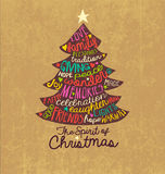 Christmas Card Word Cloud tree design Royalty Free Stock Photos