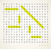 Christmas card - word search puzzle. With highlighted compliment of the season Stock Images