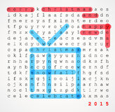 Christmas card - word search puzzle. With highlighted compliment of the season Royalty Free Stock Photo