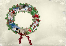 Christmas Card Wreath Stock Images